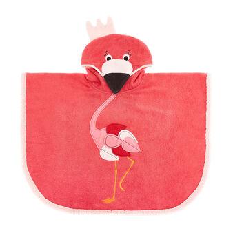 Kid's terry poncho with flamingo motif