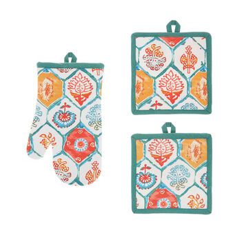 Pot holder and oven mitt set in 100% cotton with majolica print