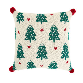 Knitted cotton cushion with pine trees motif 45x45cm