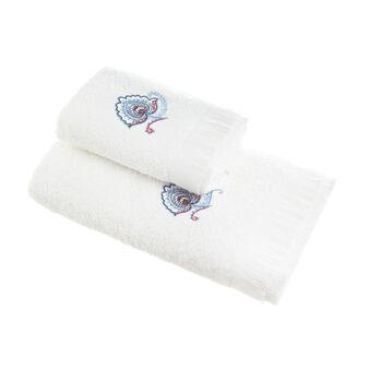 Asciugamano puro cotone ricamo e frange