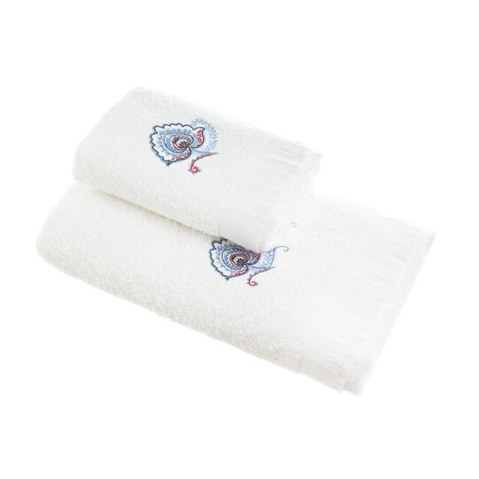 100% cotton towel with embroidery and fringing