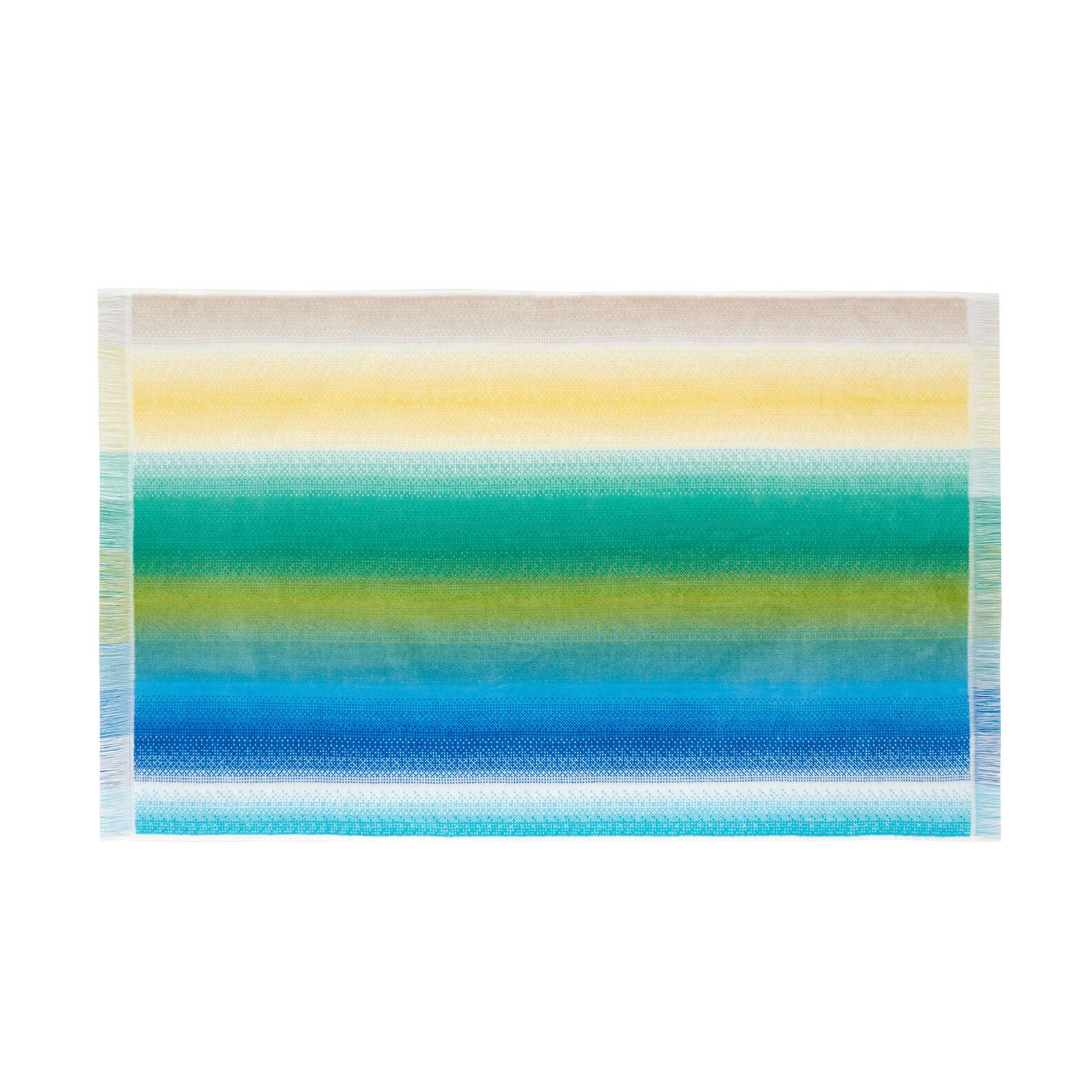100% cotton velour towel with multi-coloured stripes