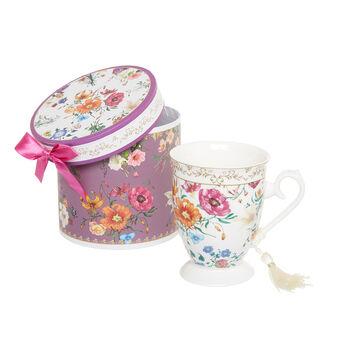 Porcelain gift mug with flowers decoration