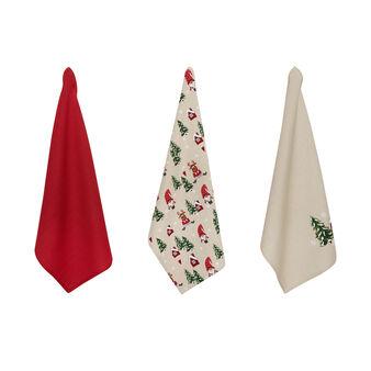 Set 3 strofinacci puro cotone ricamo natalizio