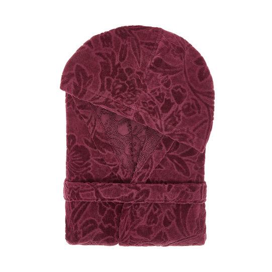 Bathrobe in 100% cotton with damask design