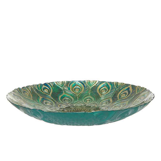 Glass bowl with peacock decoration