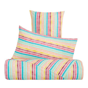 Cotton percale bed linen set with striped print