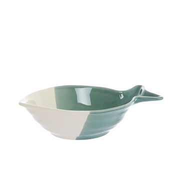 Two-tone fish-shaped ceramic bowl
