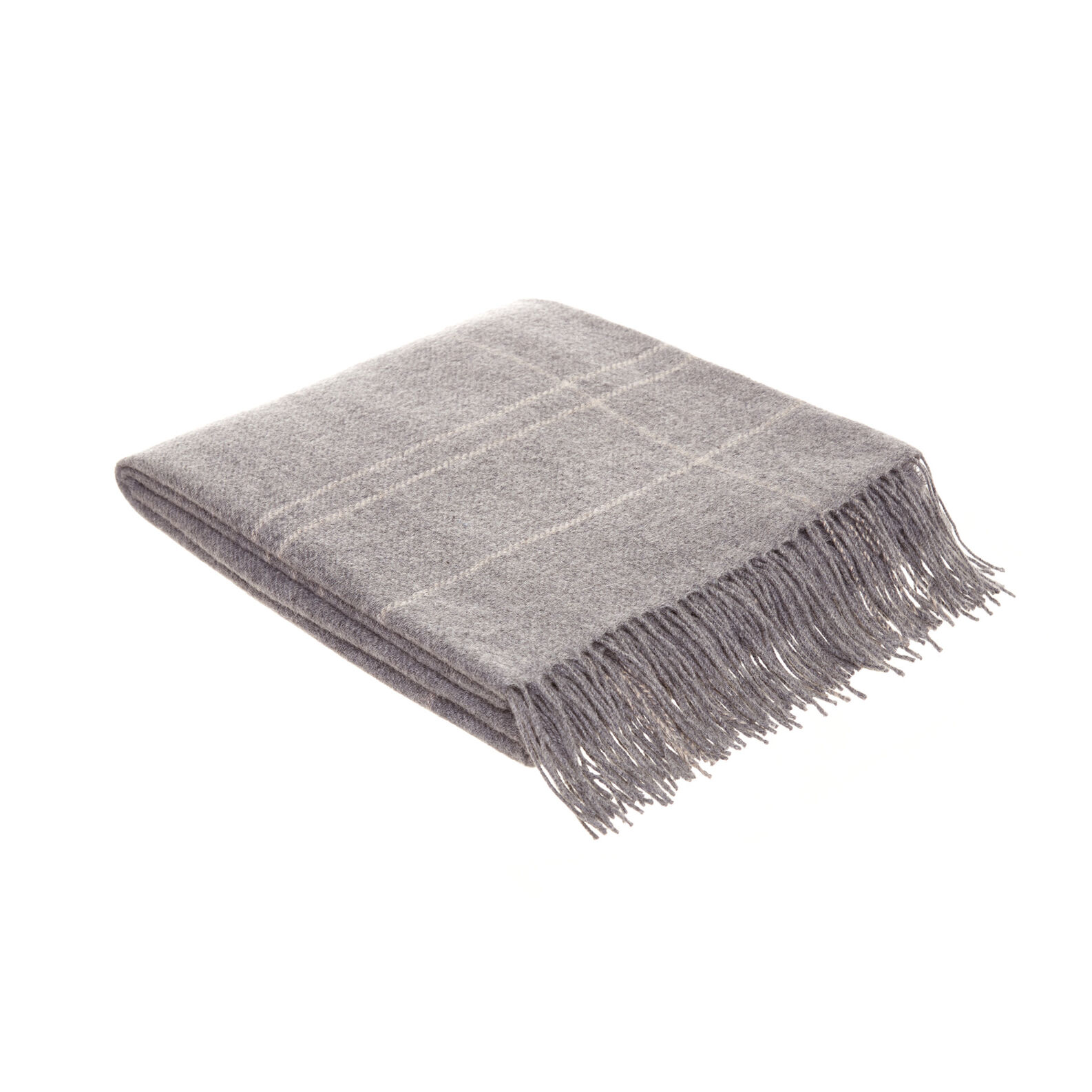 Wool blend plaid with fringes