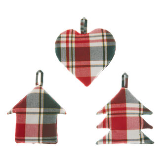Set of 3 tartan decorations in cotton twill with lurex yarn