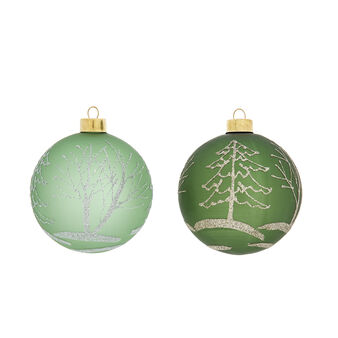 Hand-decorated bauble with forest decoration