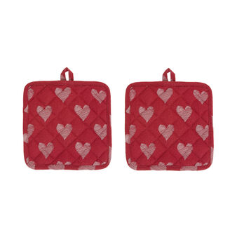 2-pack pot holders in 100% cotton with hearts print