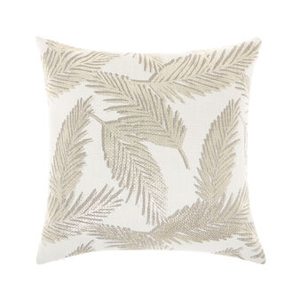 Foil print leaf pattern cushion