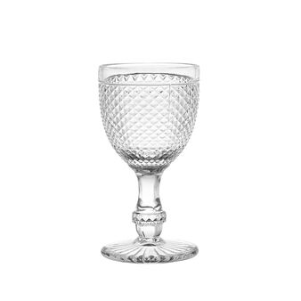 Faceted glass water goblet