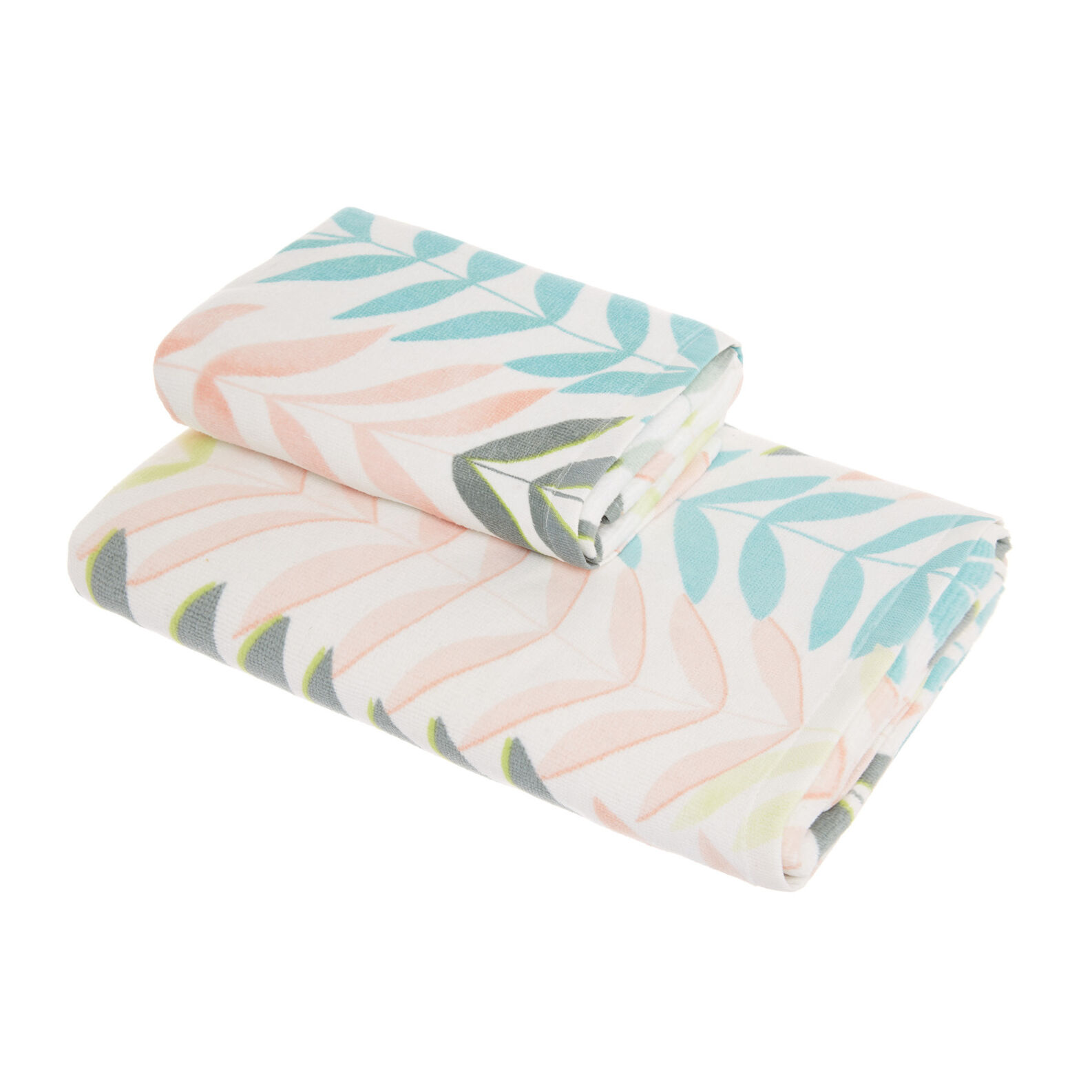Cotton velour towel with leaf print