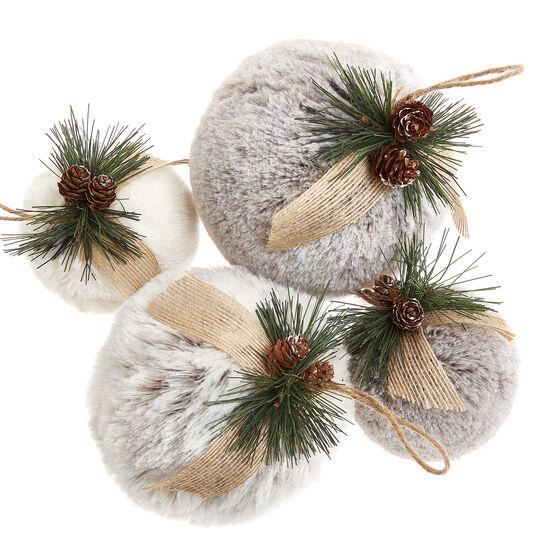 Faux fur ball decoration