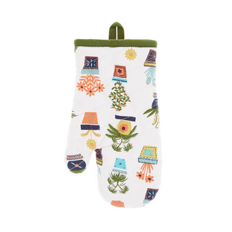 Oven mitt in cotton twill with vases print