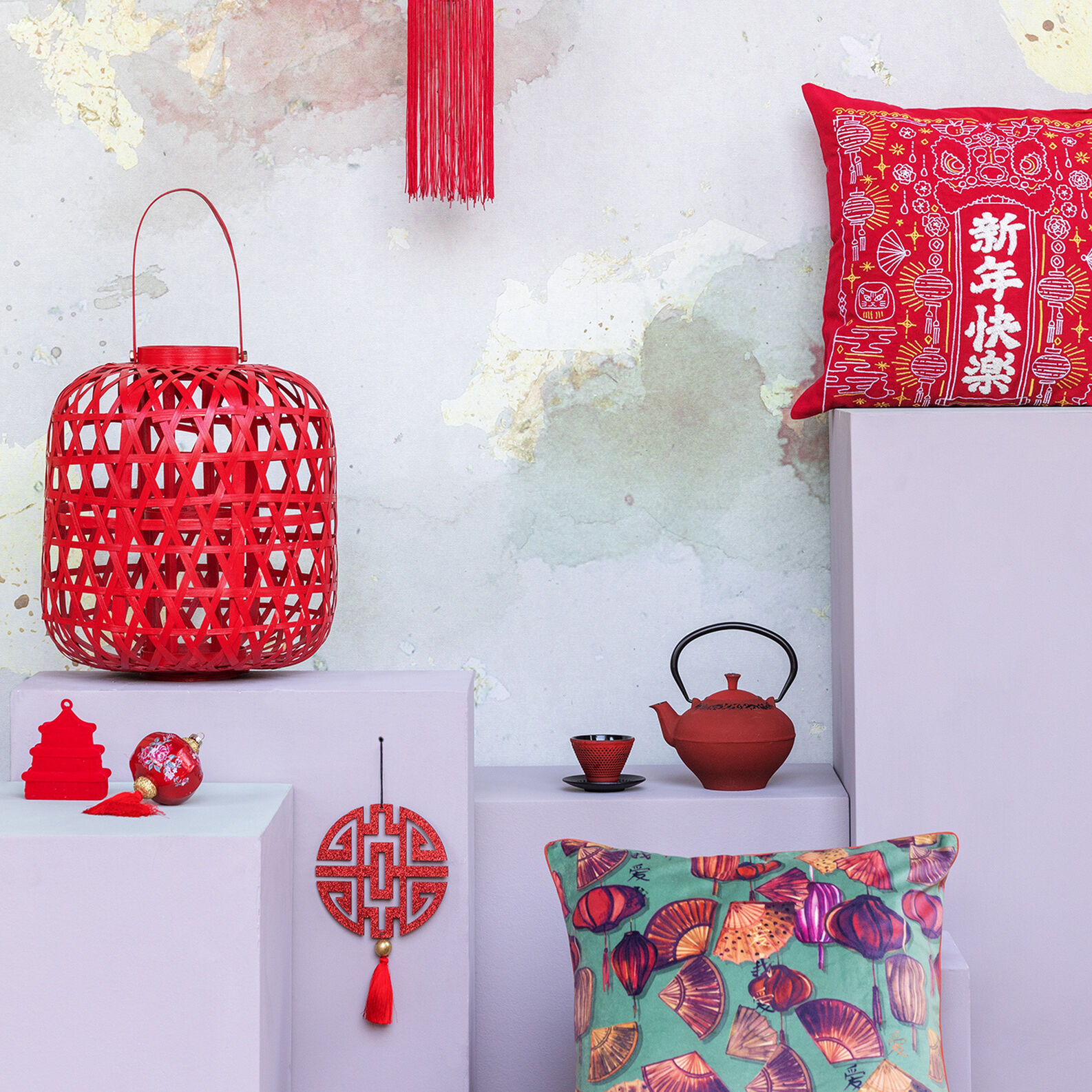 Cushion with embroider Chinese motif 45x45cm
