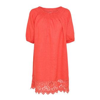 Linen dress with macrame edging