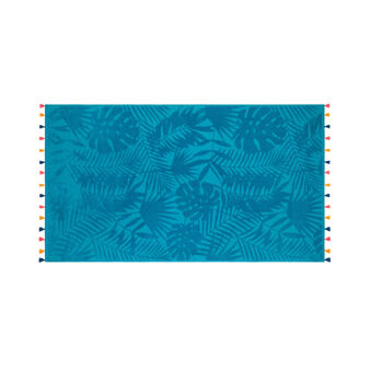 Velour cotton beach towel with tropical leaves motif
