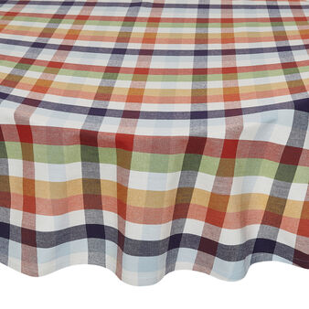 Round check tablecloth in water-repellent 100% cotton
