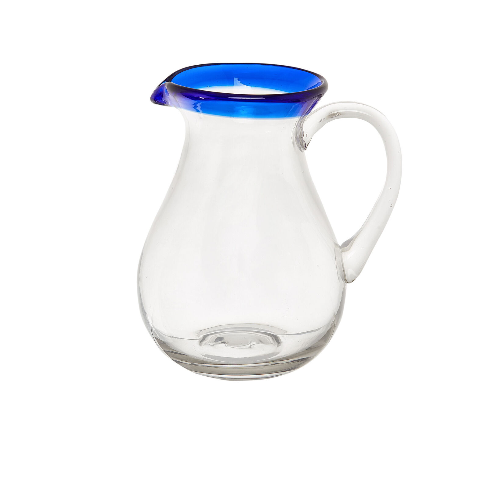 Glass carafe with blue rim