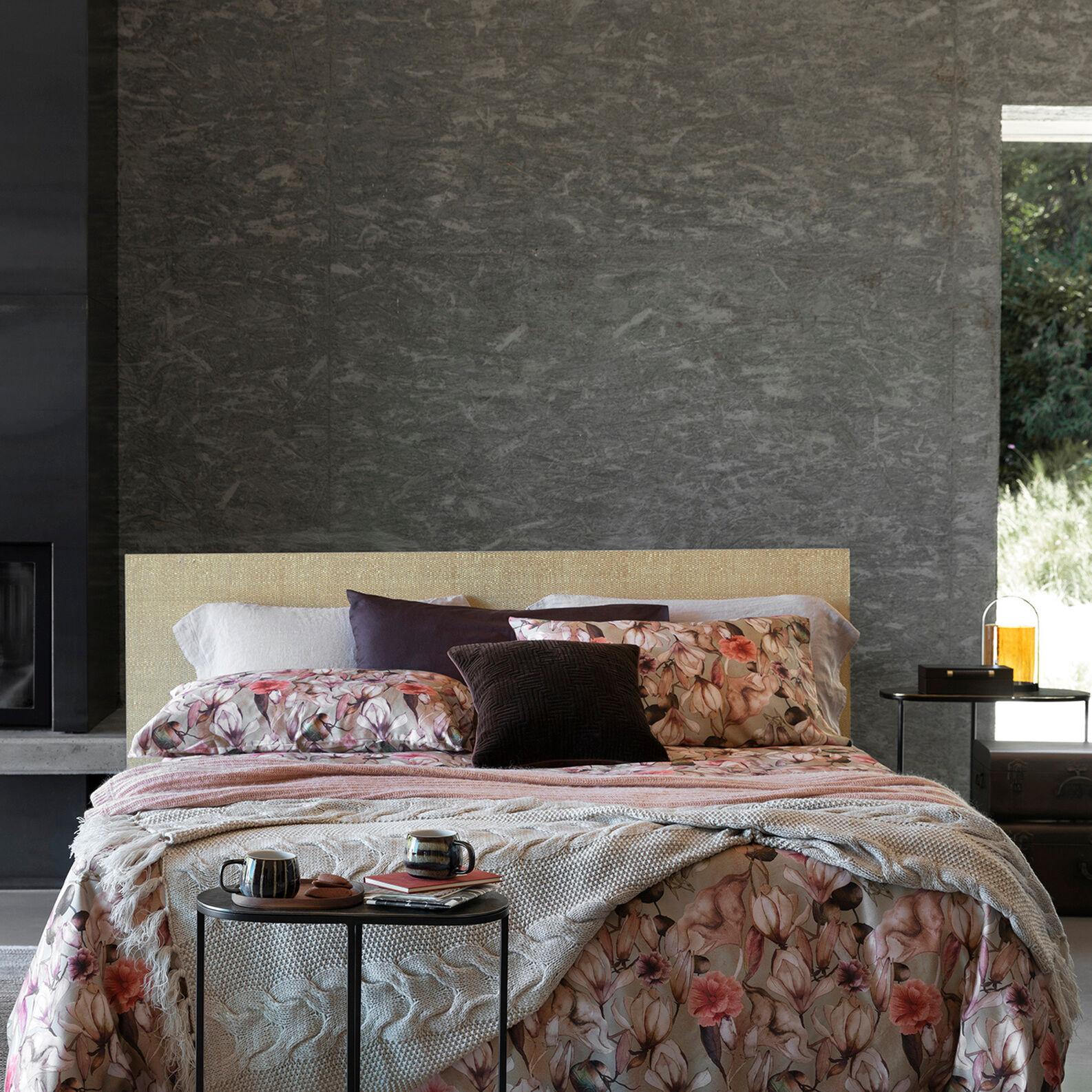 Copripiumino raso di cotone fantasia magnolia