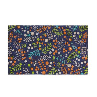 Tappeto cotone tessuto a mano a fiori