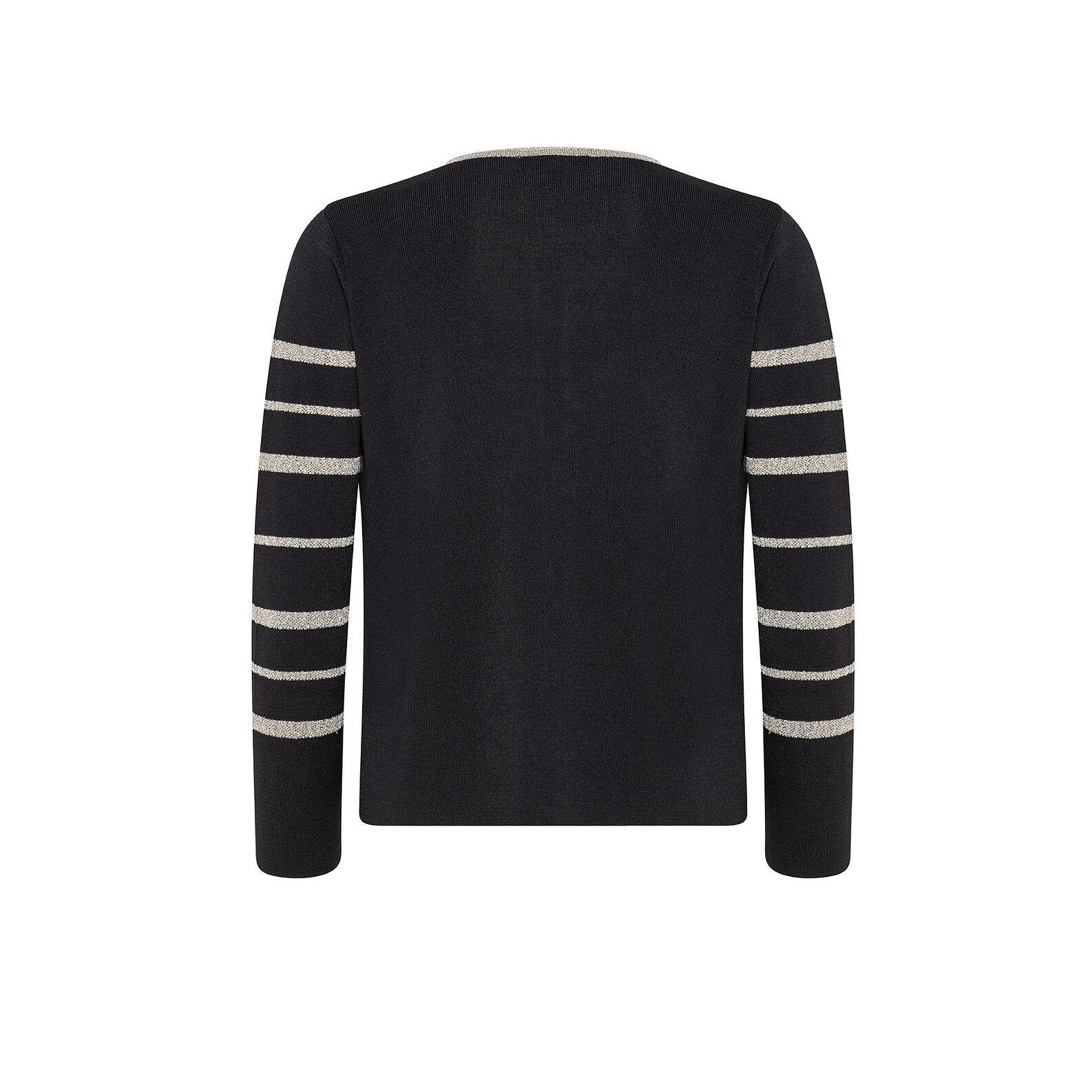 Lurex striped crewneck cardigan