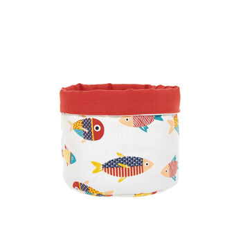 100% cotton basket with fish print
