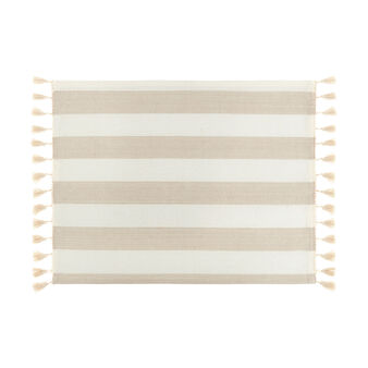 100% cotton striped place mat with tassels
