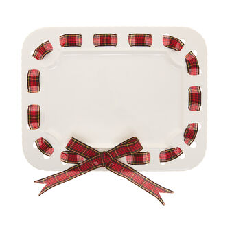 Ceramic serving dish with tartan bow
