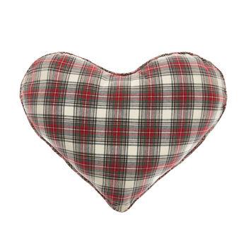 Cotton heart cushion with tartan