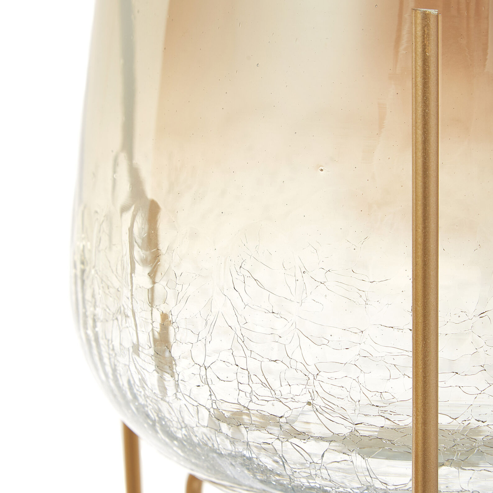 Bubble-effect glass candle holder with stand
