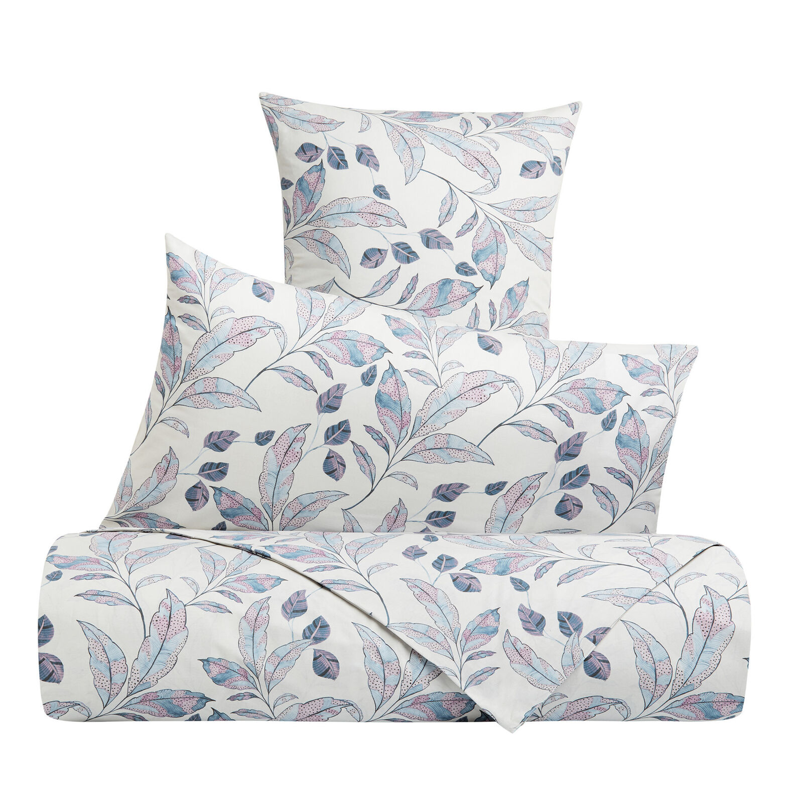 Cotton percale pillowcase with leaf pattern