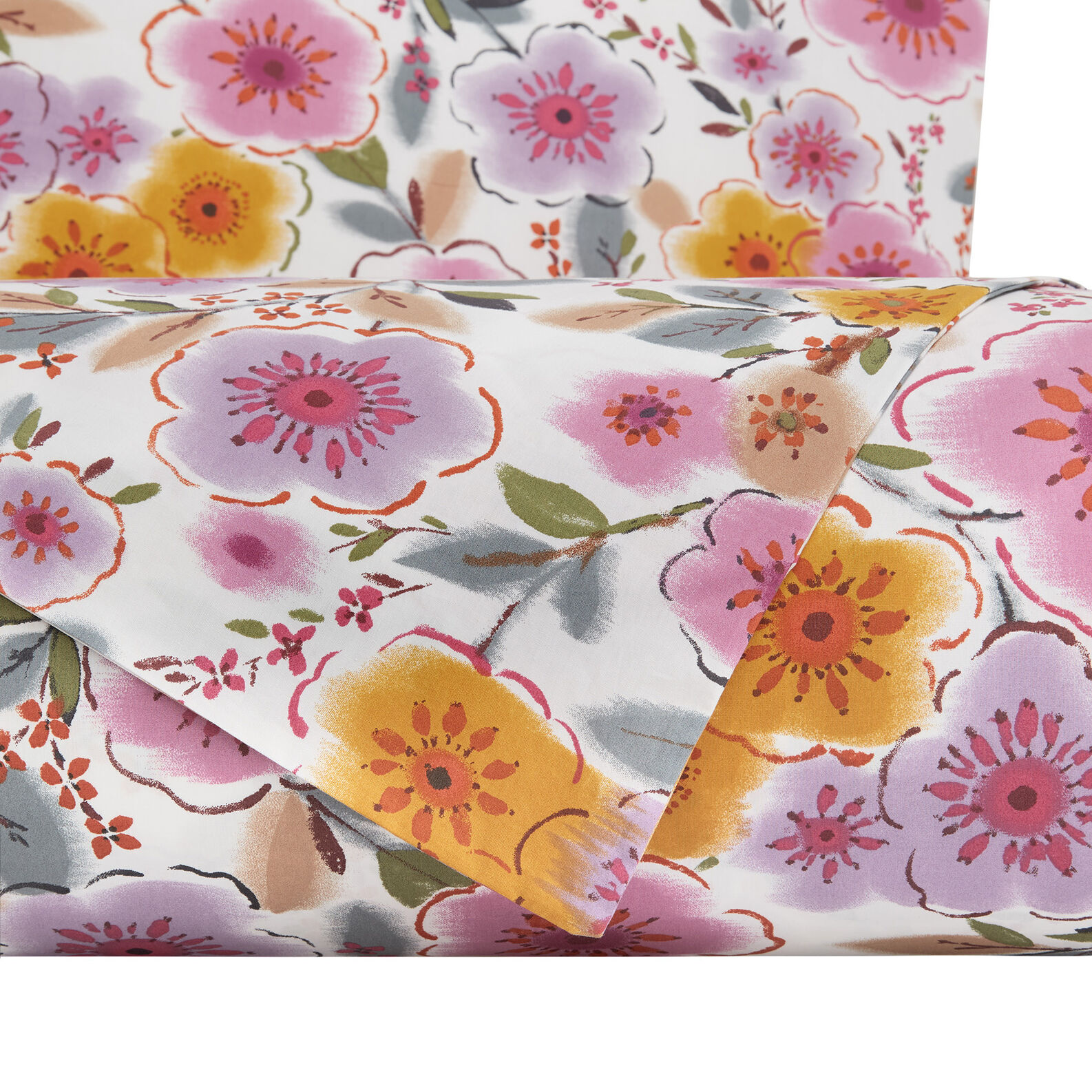 Cotton percale duvet cover set with flowers pattern