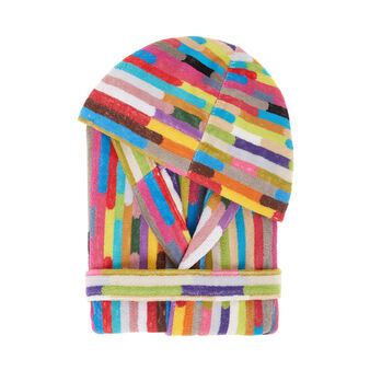 Yarn-dyed multicoloured striped cotton bathrobe
