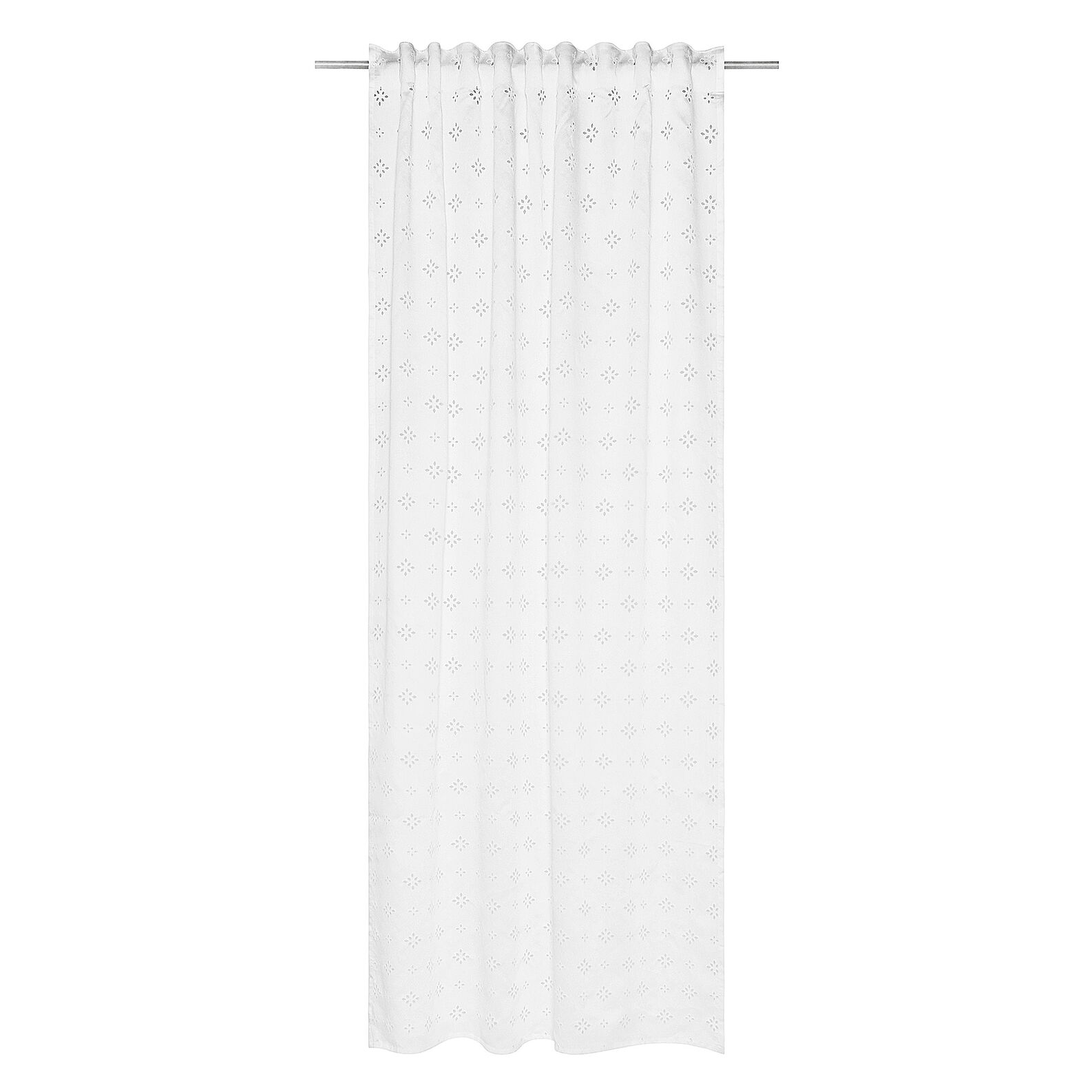 Curtain with embroidered Broderie Anglaise lace