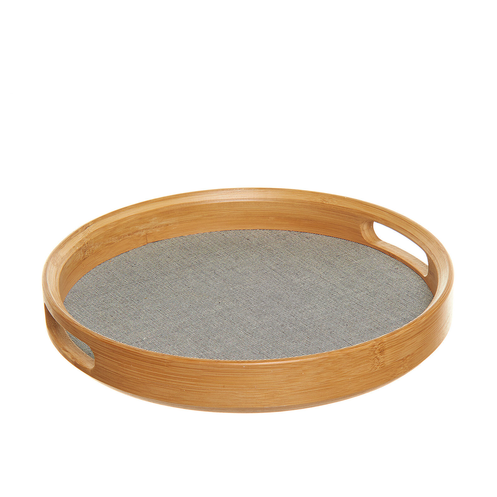 Round tray in cotton and bamboo