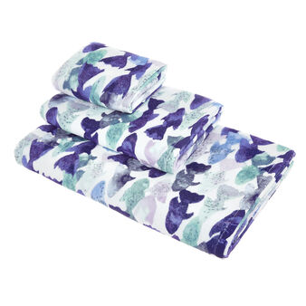 Cotton velour towel with fish print