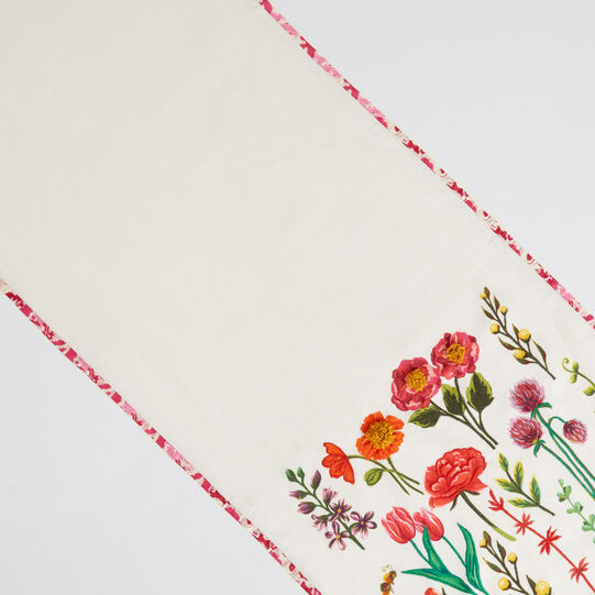 Runner puro cotone ricamo fiori