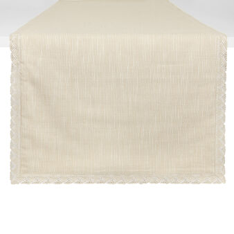 100% iridescent cotton table runner with lace