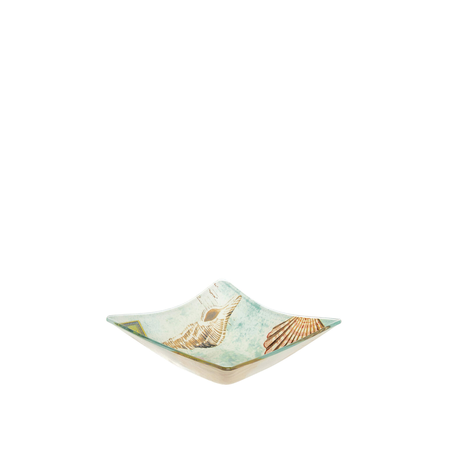 Small square bowl in glass with marine decoration