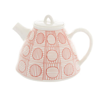 Porcelain teapot with geometric motif