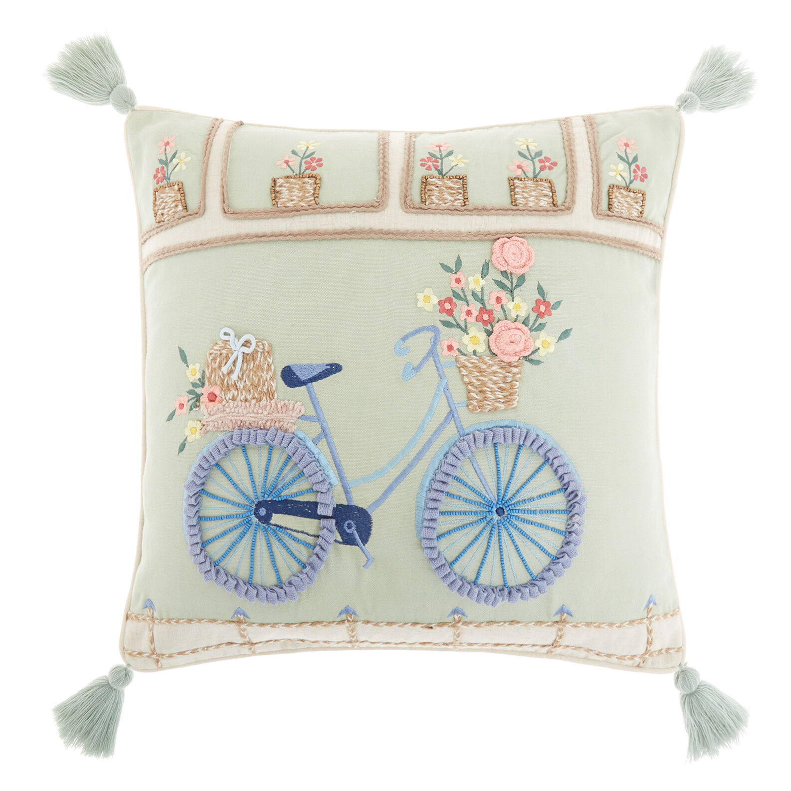 Cotton cushion with embroidered bicycle 45x45cm
