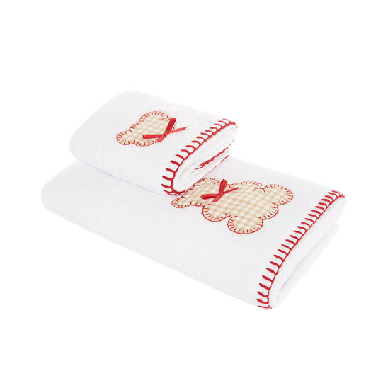 Set of 2 towels with teddy bear application