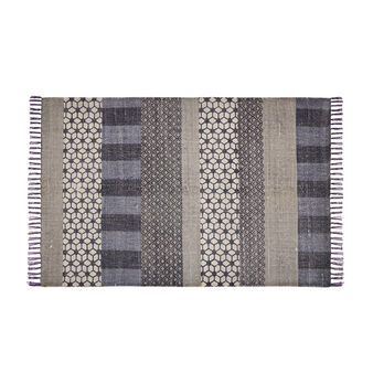 Hand-printed rug in cotton
