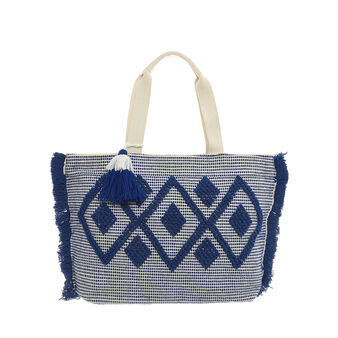 Beach bag with diamond-design embroidery