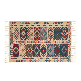 Tappeto kilim cotone stampato a mano motivo geometrico