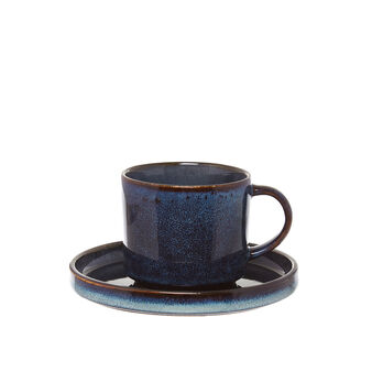 Space tea cup in stoneware with reactive glazes